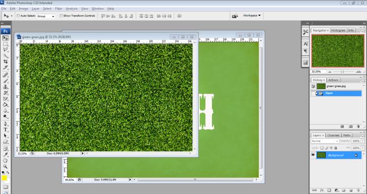 4. tarik grass ke layer background